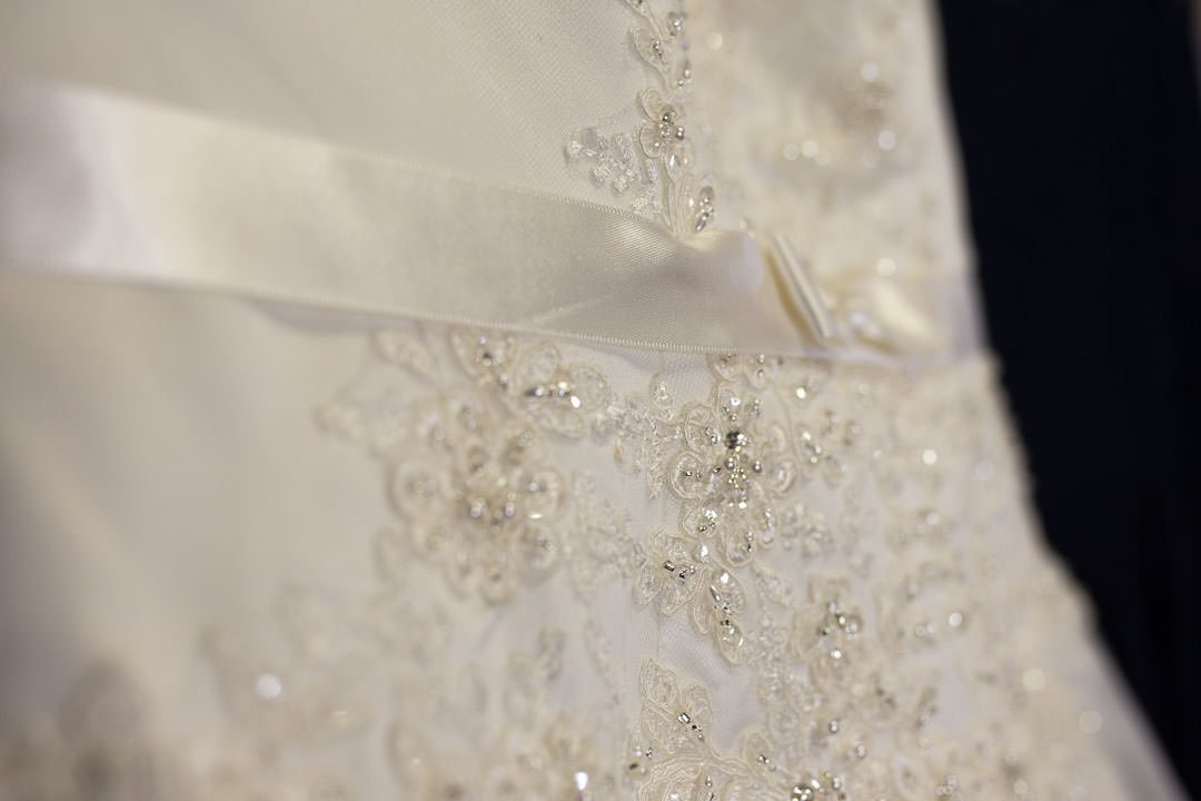 wedding dress beading detail