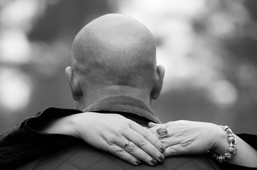 engagement photography session in Surrey - black and white photo of lady's hands and engagement ring