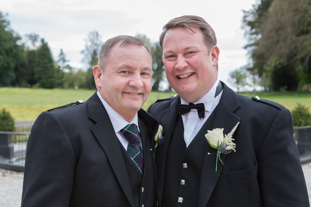Groom and his best man at Oakley Hall near Basingstoke in Hampshire