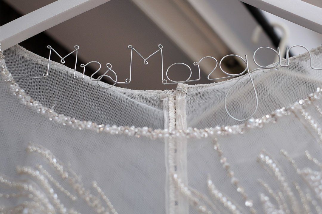 personalised wedding hanger for the bride