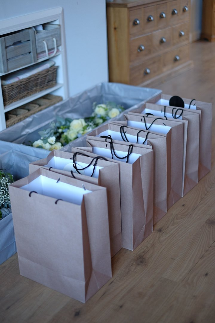 bridesmaids gifts all lined up