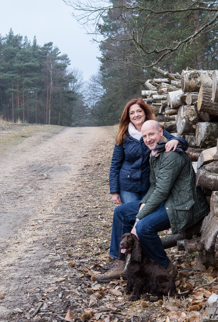 couple engagement photography session in Swinley woods near Bagshot