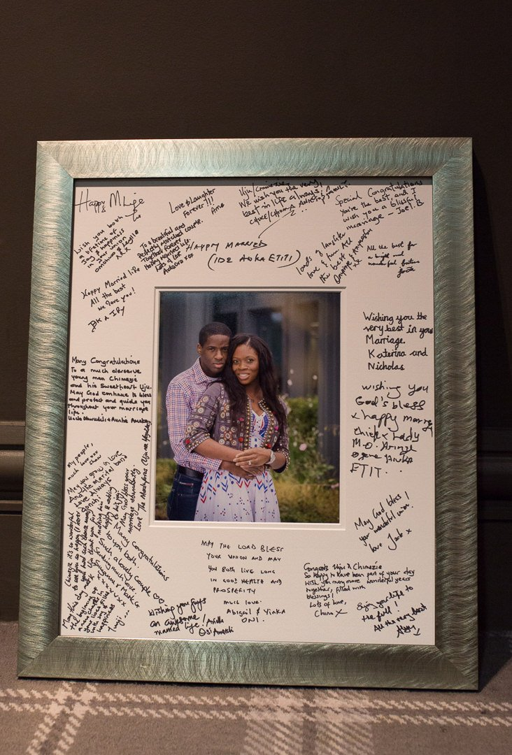 guest signing frame with photograph from engagement photography session