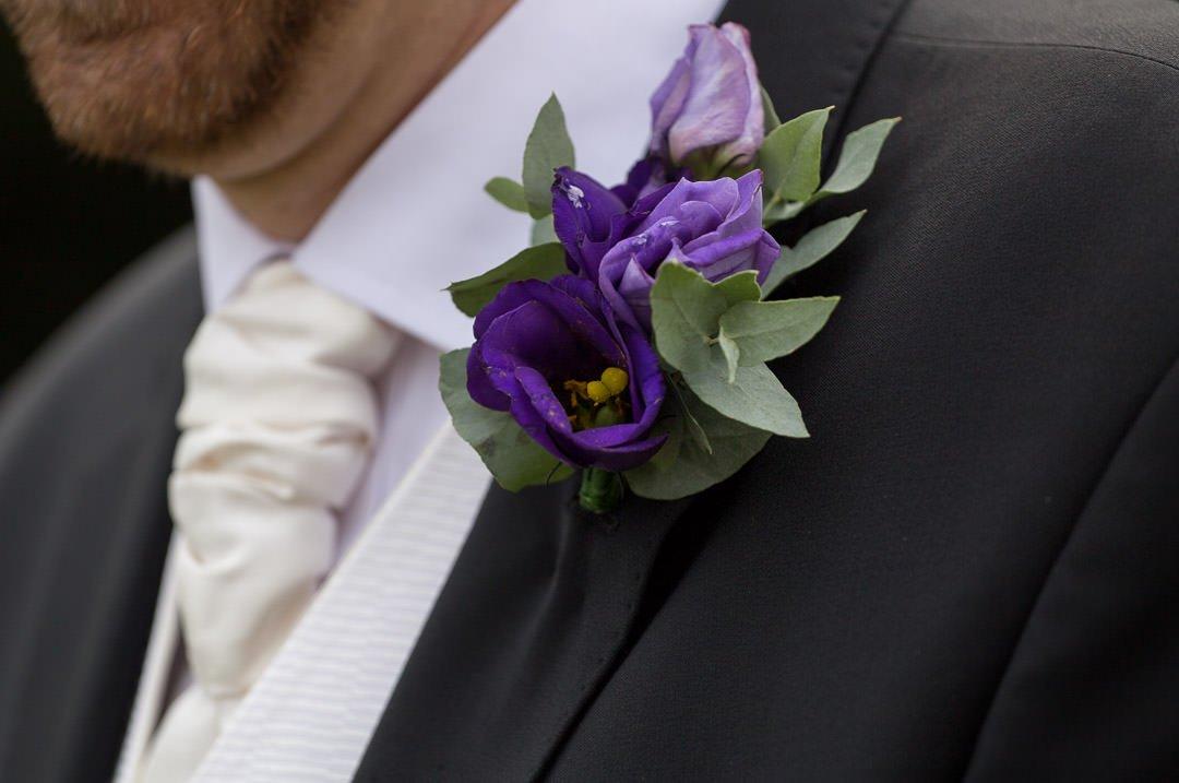 bestman's purple buttonhole