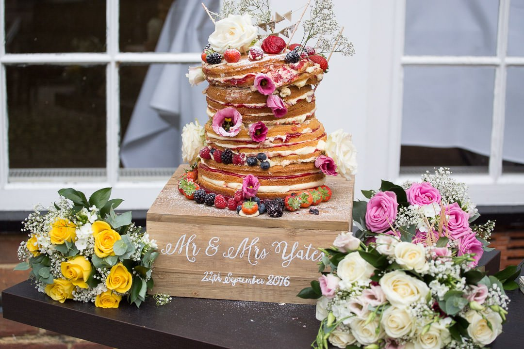 naked wedding cake at Badgemore Park in Berkshire