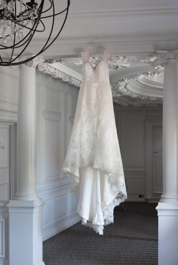 Wedding dress hanging at Barnett Hill Hotel