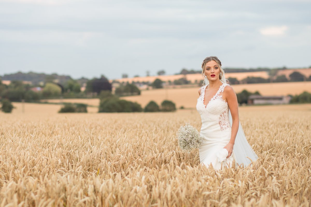 bride in the corn fields