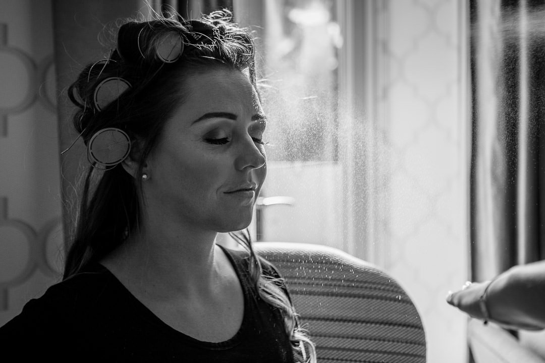 black and white image of wedding make up at the Vineyard in Stockcross, wedding venue near Newbury in Berkshire