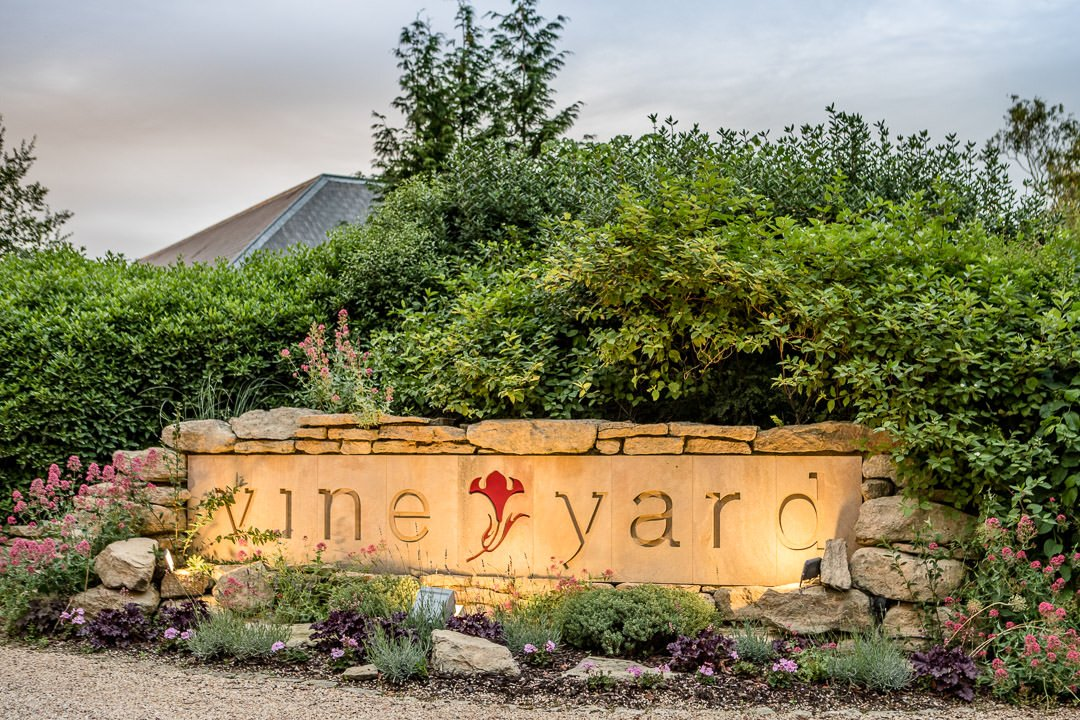 The Vineyard sign lit up