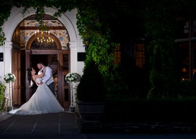Bride and groom do the dip outside Frimley Hall Hotel in camberley, Surrey-0001