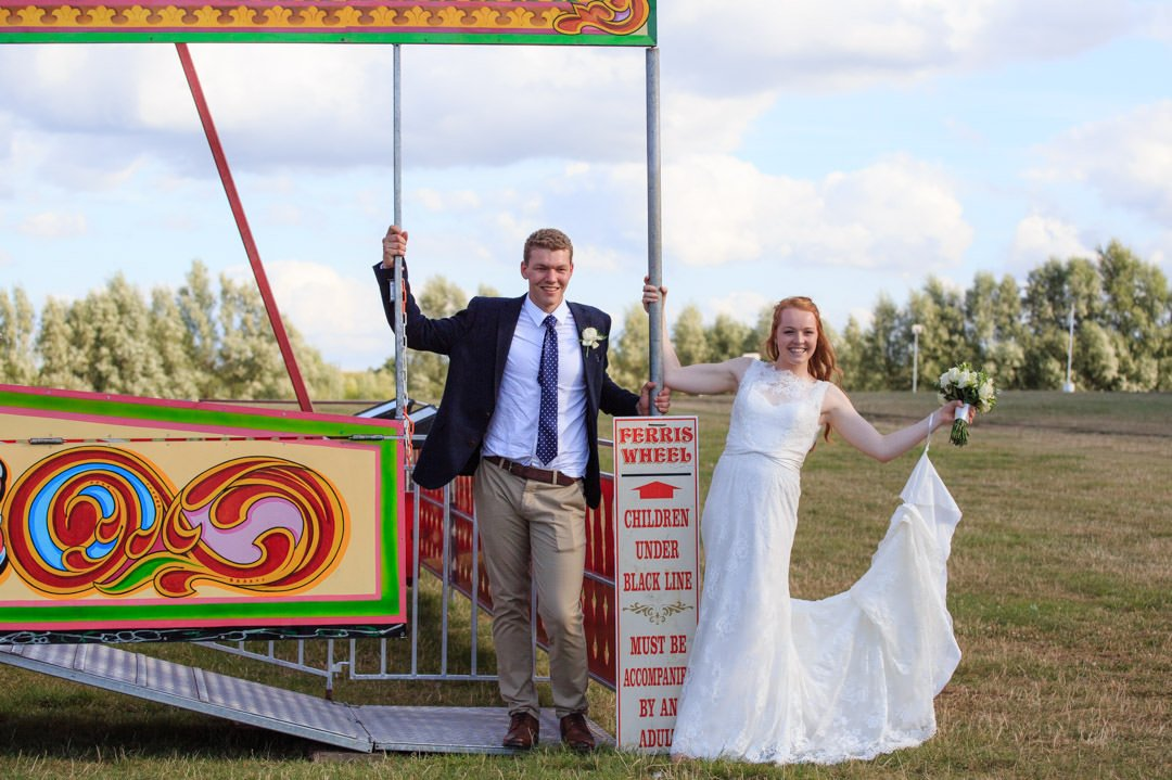 The bride and groom booked a ferris wheel for their marquee wedding day at Apps Court Farm by the River Thames