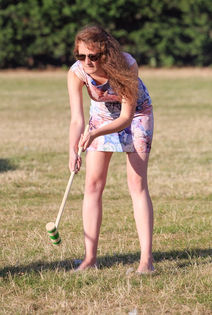 A wedding guests plays croquet at Apps Court farm