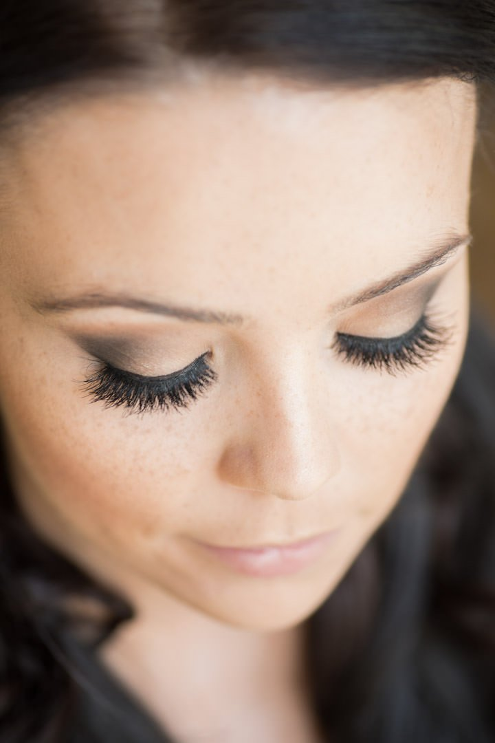 close up of the bride's eyelashes photographed from above