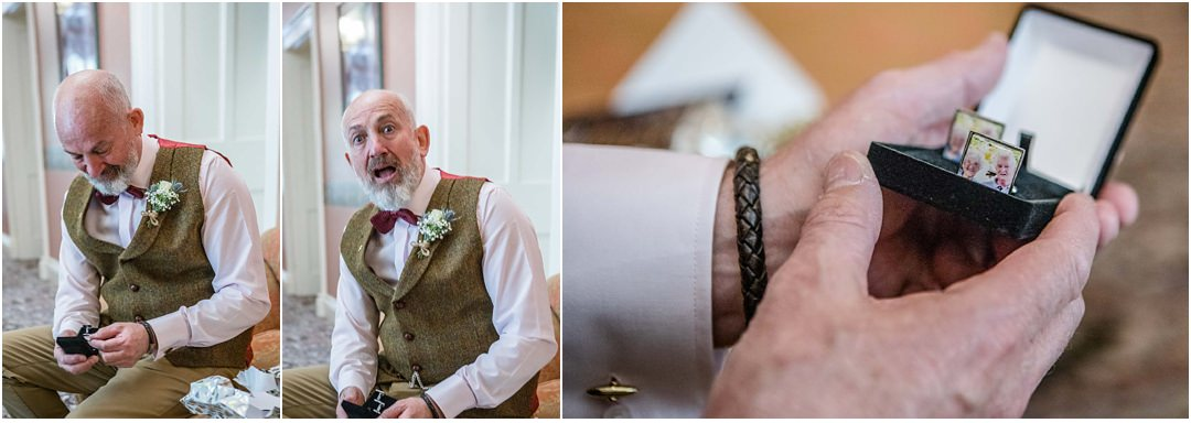 the groom opens his gift of personalised cufflinks from the bride