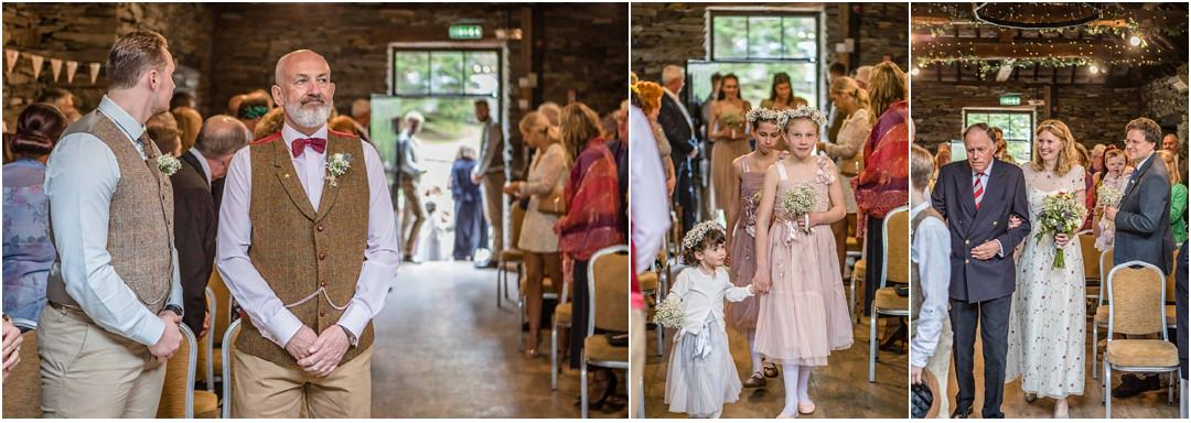 The groom waits as the bride and bridesmaids arrive at Monk Coniston