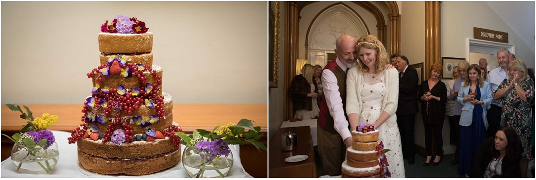 The bride and groom cut the cake at their Monk Coniston wedding