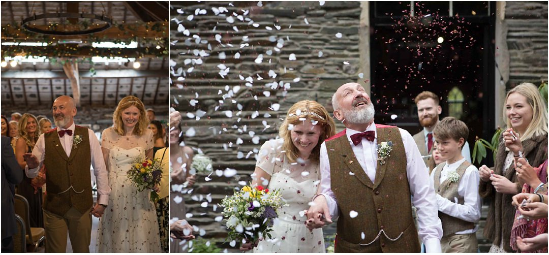 The bride and groom exit and confetti shot at their Monk Coniston wedding