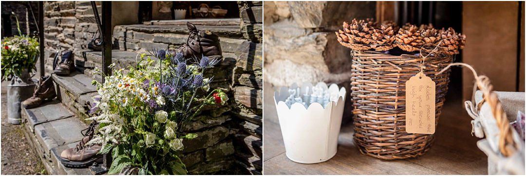 wedding details at Monk Coniston barn