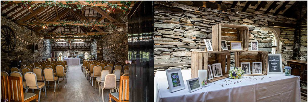 The barn at Monk Coniston set up ready for the wedding ceremony