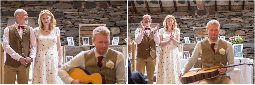 The bride's son sings and plays a song he has composed for the couple at Monk Coniston