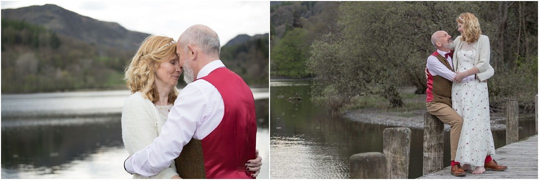 The bride and groom enjoy some couple time at Lake Coniston