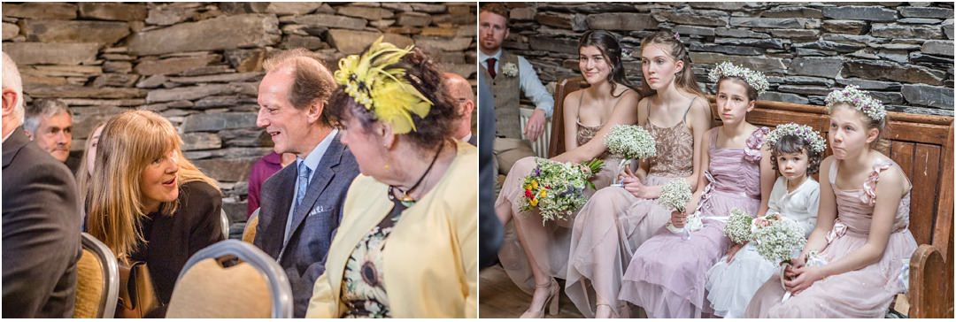 Guests and bridesmaids during the wedding service at Monk Coniston