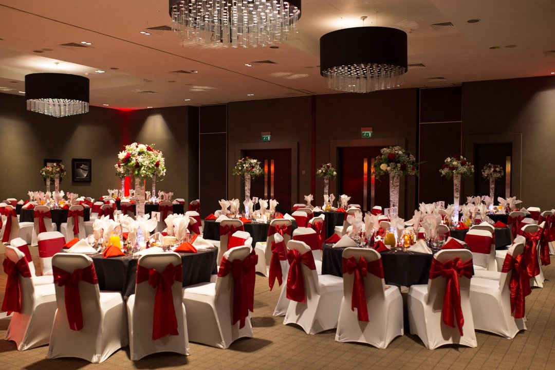 The Village Hotel interior laid out for the wedding breakfast
