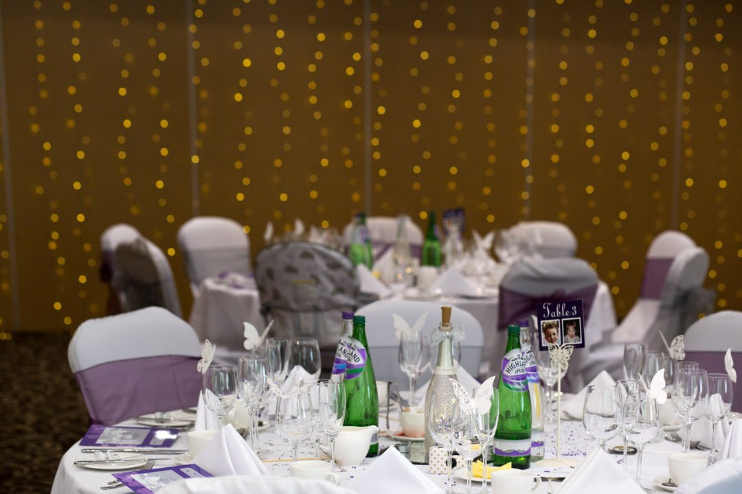 wedding reception in the Frimley Suite at Frimley Hall Hotel