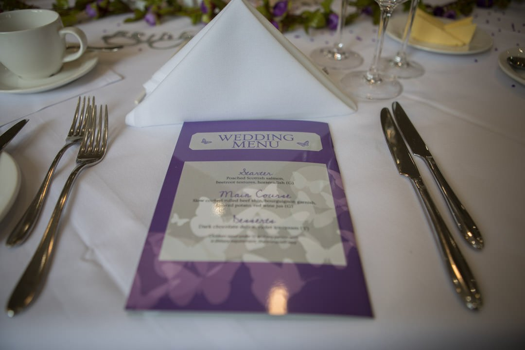 Wedition magazine cover as the wedding breakfast menu at Frimley Hall Hotel