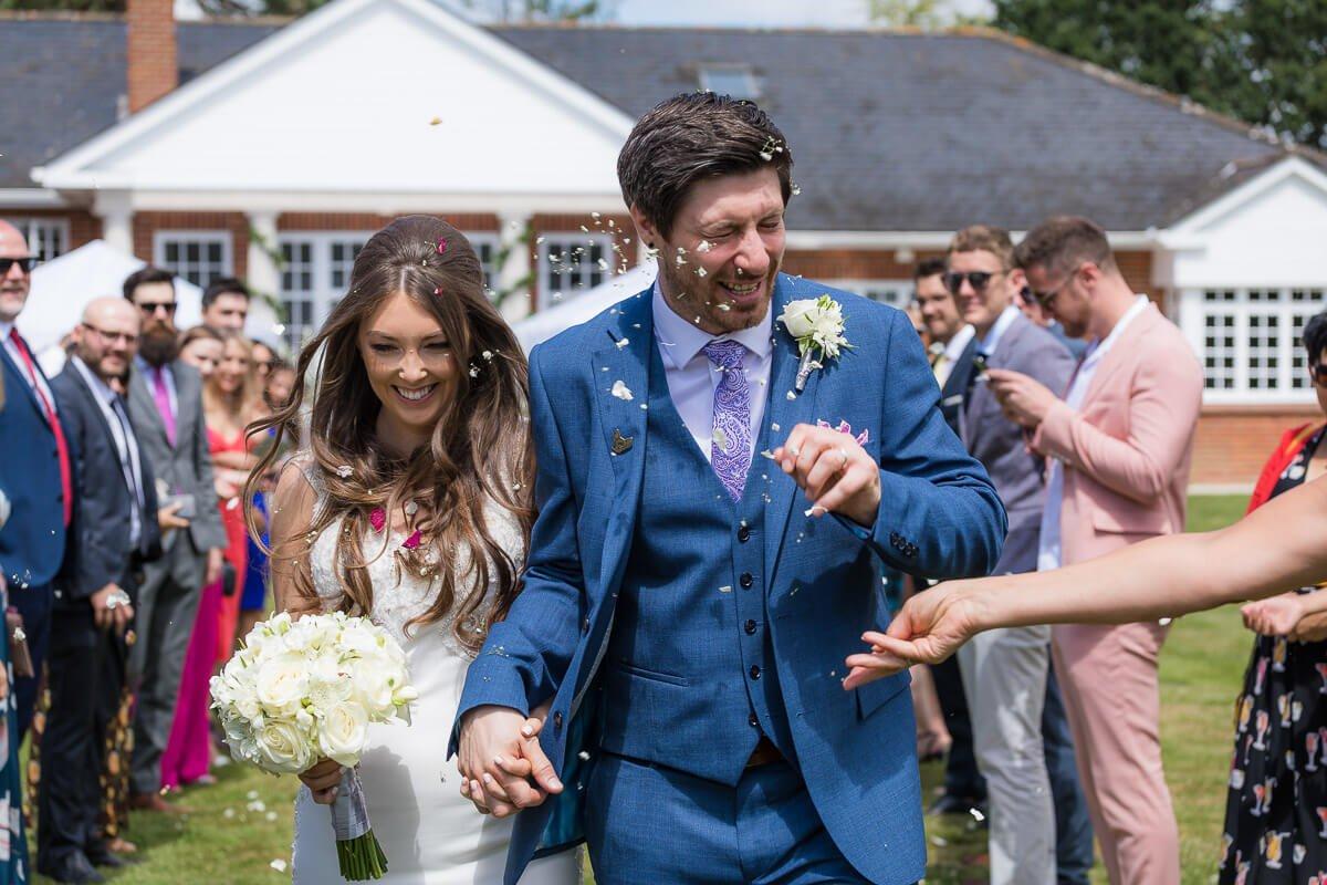 Warbrook house fun confetti wedding photography
