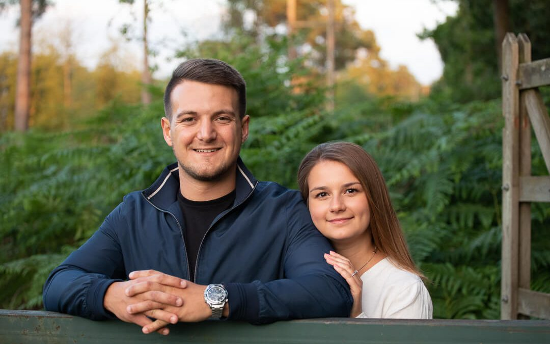 Engagement photography in Bagshot woods
